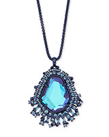 Daenerys Navy Gunmetal Long Pendant Necklace in Indigo Dichroic Glass