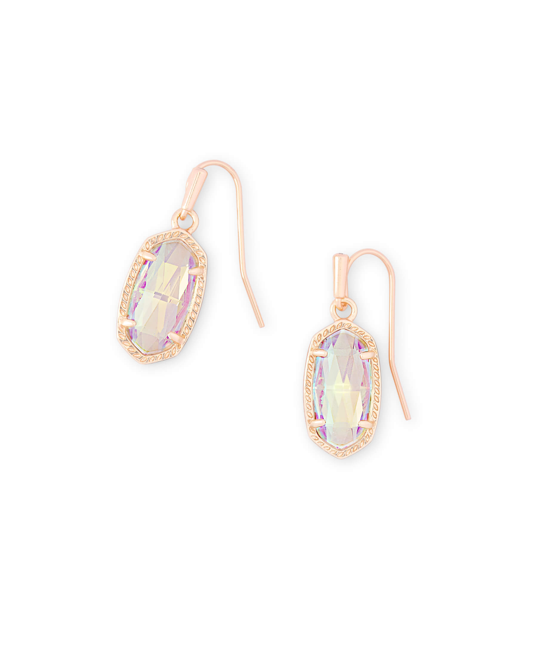 Lee Rose Gold Drop Earrings in Dichroic Glass