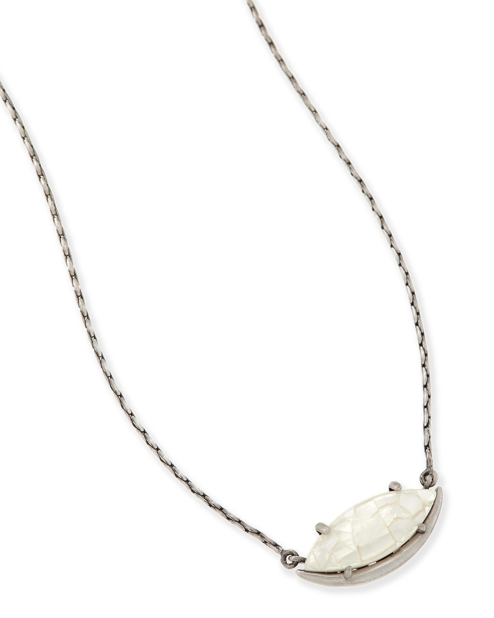 Meghan Pendant Necklace in Crackle Ivory Pearl