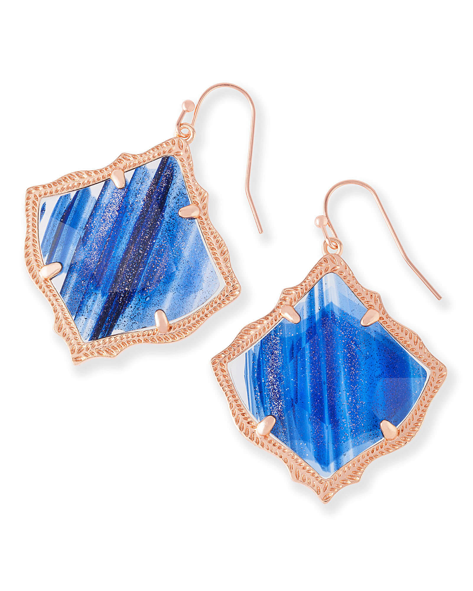 Kirsten Drop Earrings in Navy Dusted Glass