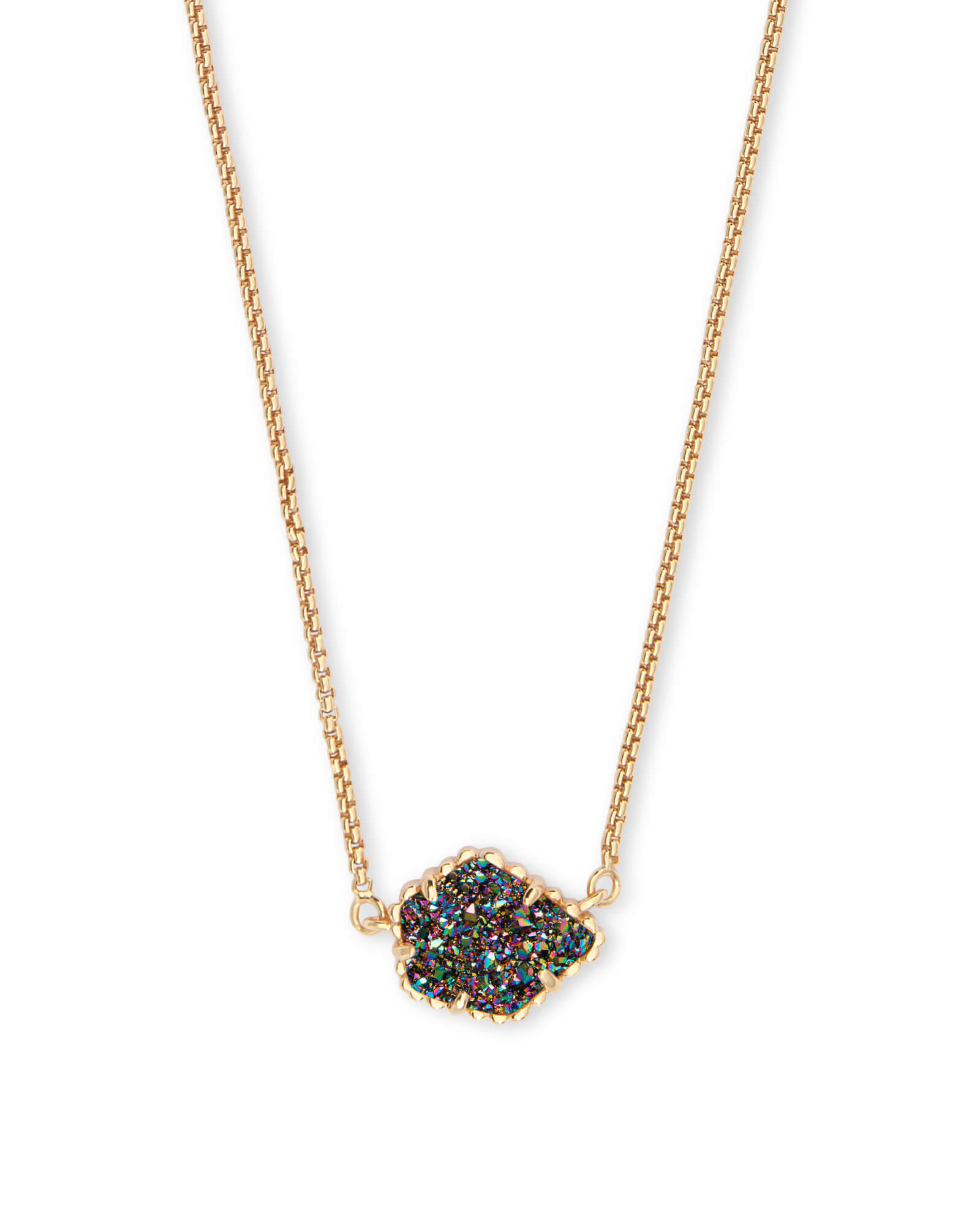 Tess Gold Pendant Necklace in Multicolor Drusy