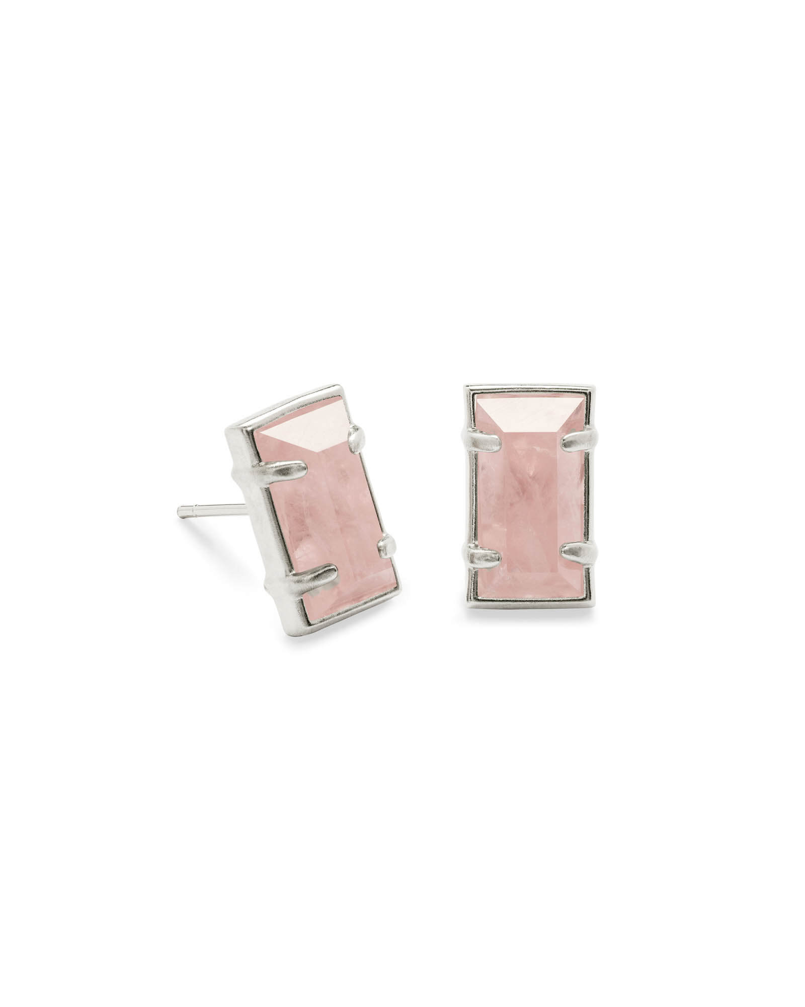 Paola Silver Stud Earrings in Rose Quartz