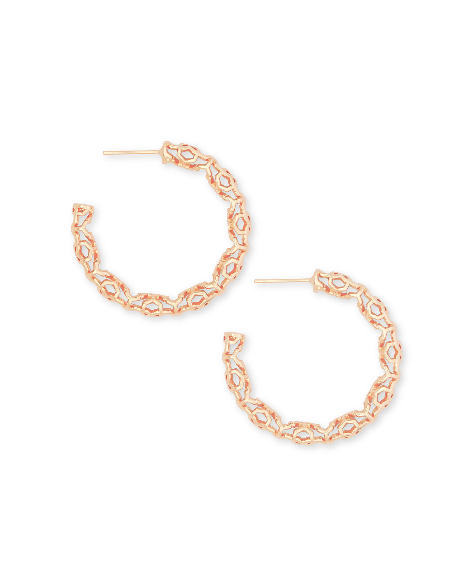 Maggie Small Hoop Earrings in Rose Gold Filigree