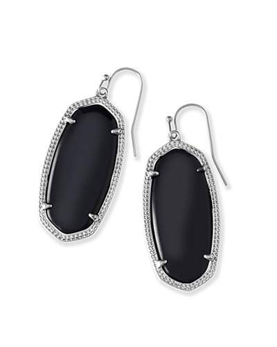 Elle Silver Earrings in Black