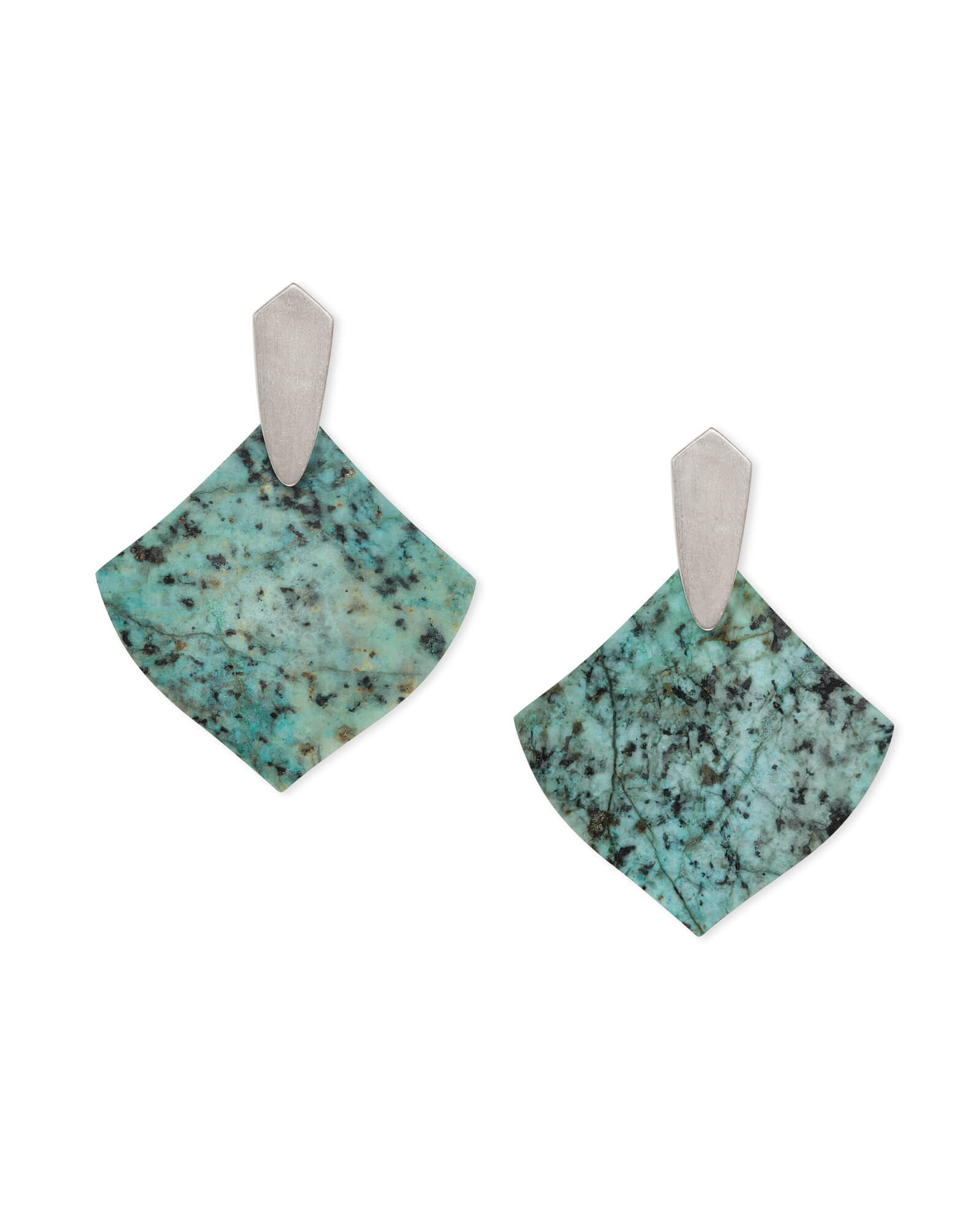 Astoria Silver Drop Earrings in African Turquoise