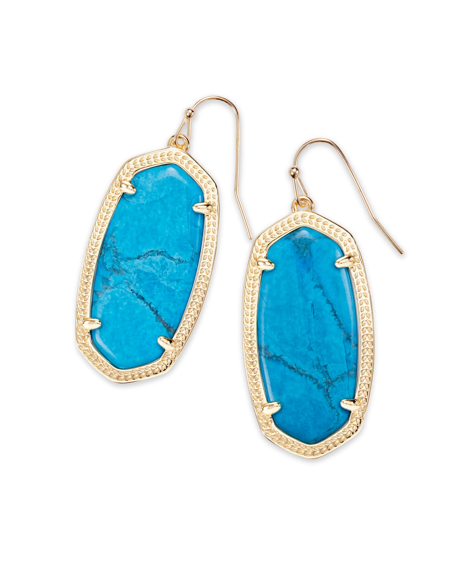 Elle Gold Drop Earrings in Aqua Howlite