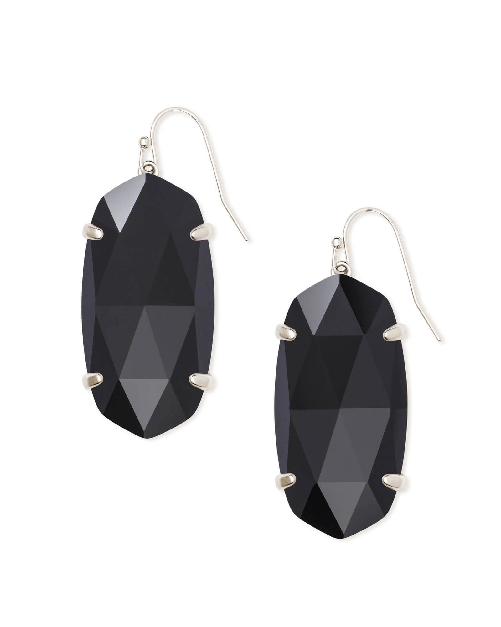 Esme Silver Drop Earrings In Black Opaque Glass
