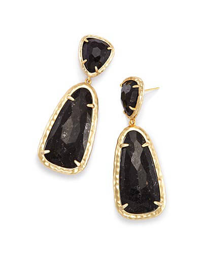 Daria Statement Earrings in Black Granite