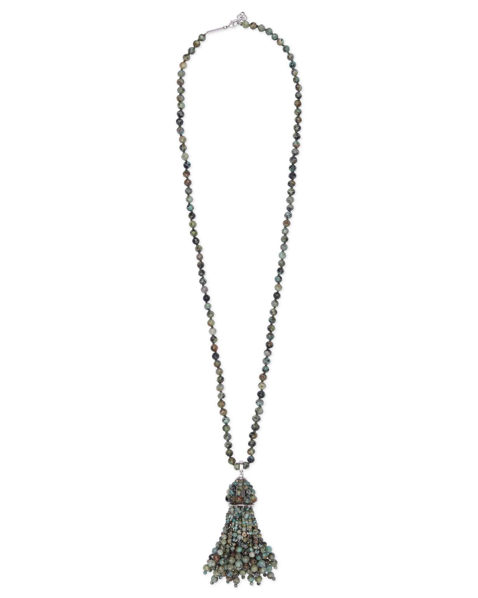Sylvia Silver Long Pendant Necklace in African Turqouise