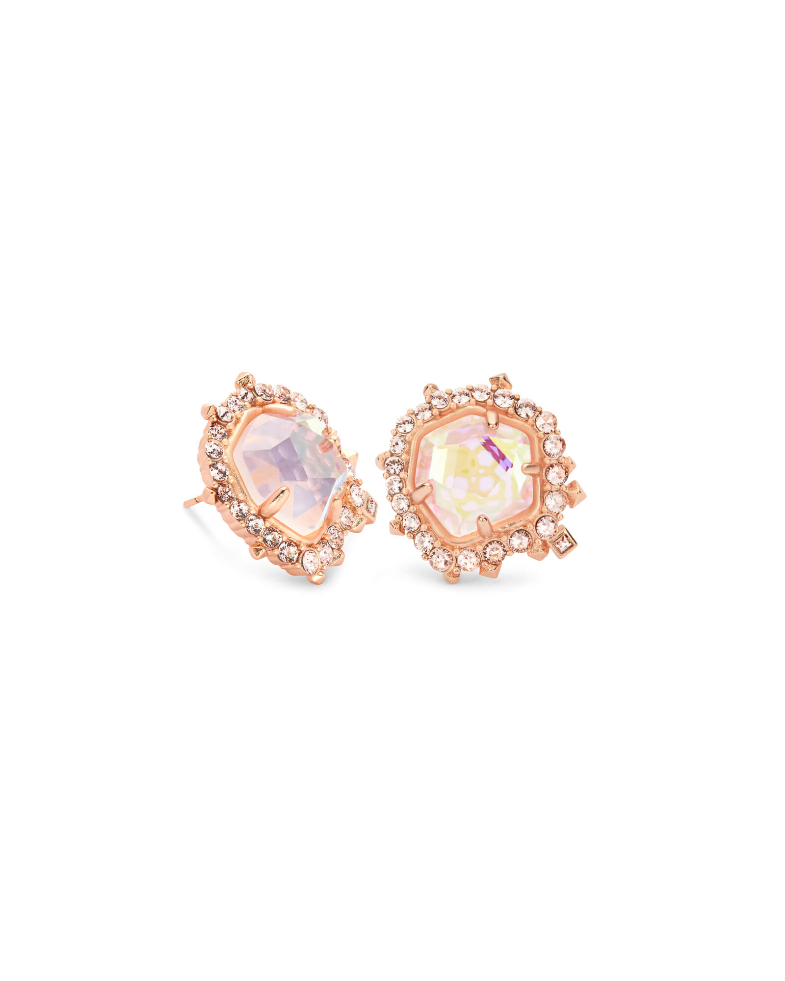 Abelia Rose Gold Stud Earrings in Blush Dichroic Glass