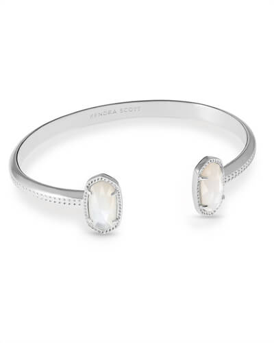 Elton Silver Cuff Bracelet in Ivory Mother Of Pearl