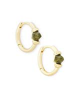 Ellms Gold Huggie Earrings in Olive Epidote