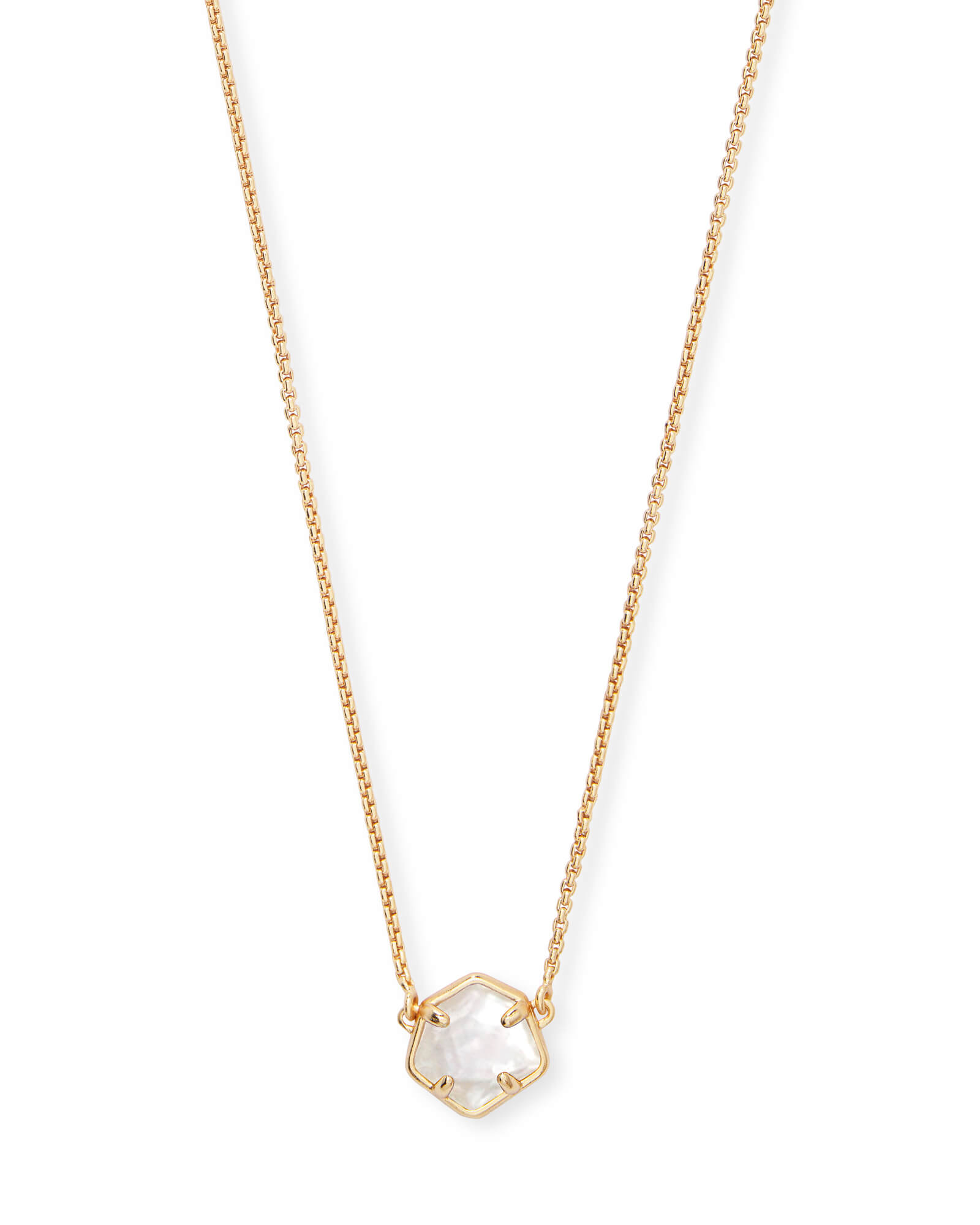 Jaxon Gold Pendant Necklace in Ivory Mother-of-Pearl