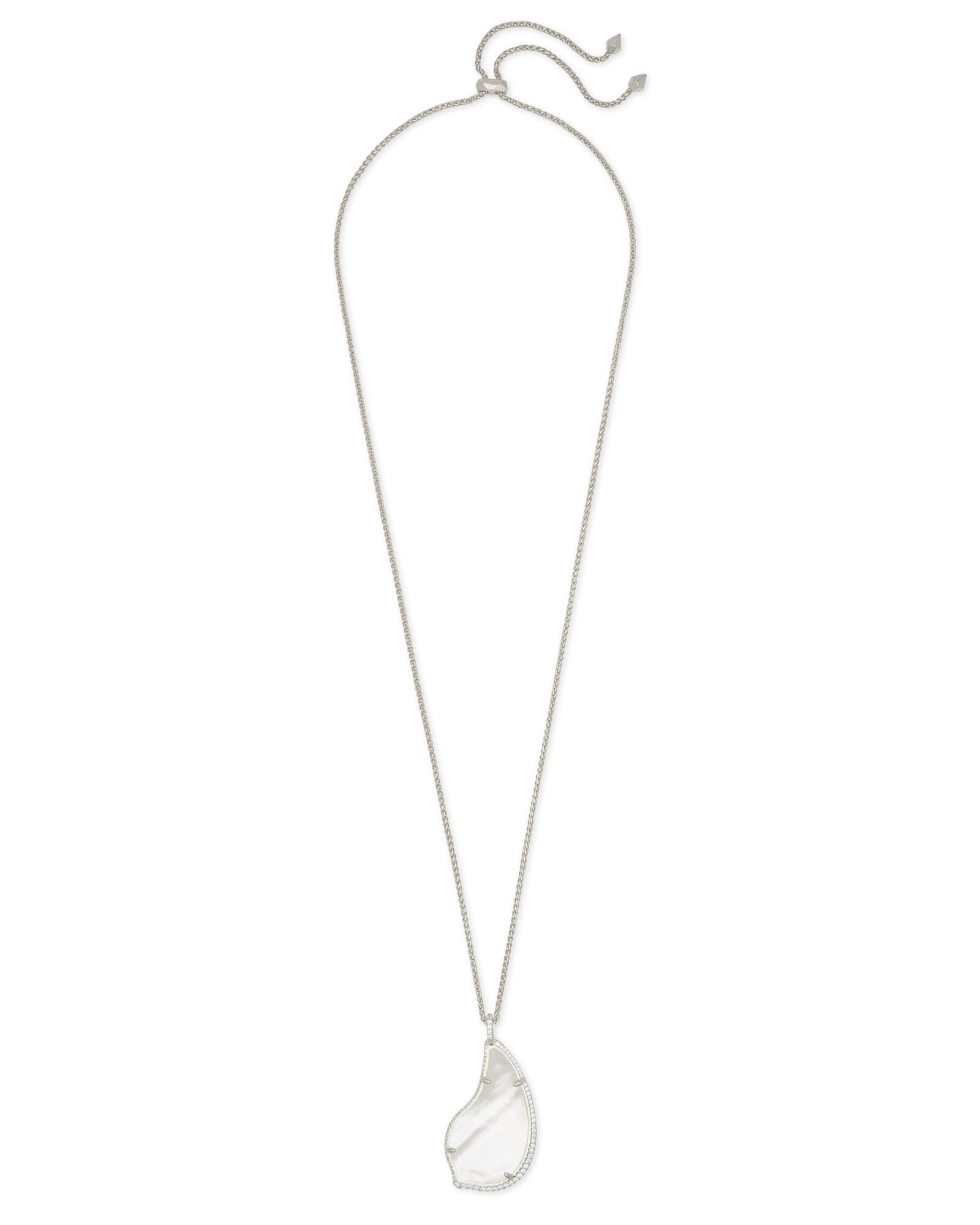 Theodora Silver Long Pendant Necklace in Ivory Pearl