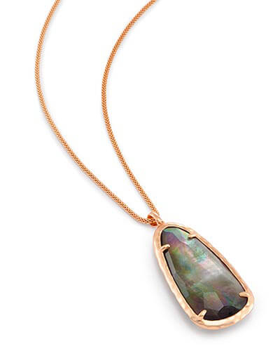 Saylor Long Pendant Necklace in Crystal Gray Illusion
