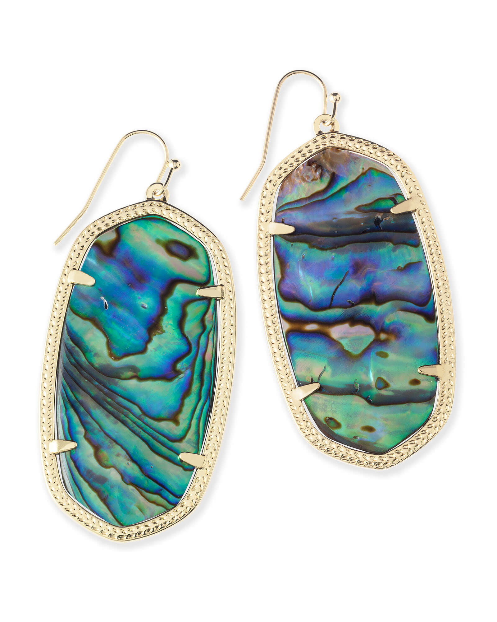 Danielle Gold Drop Earrings in Abalone Shell