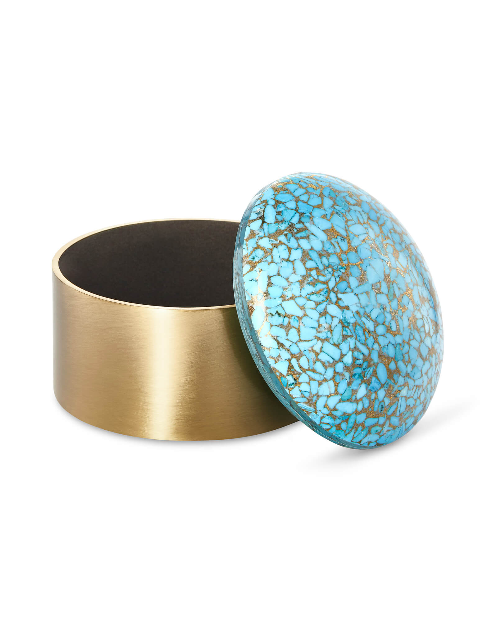 Decorative Brass Box in Bronze Veined Turquoise Magnesite