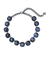 Jolie Navy Gunmetal Statement Necklace in Indigo Illusion