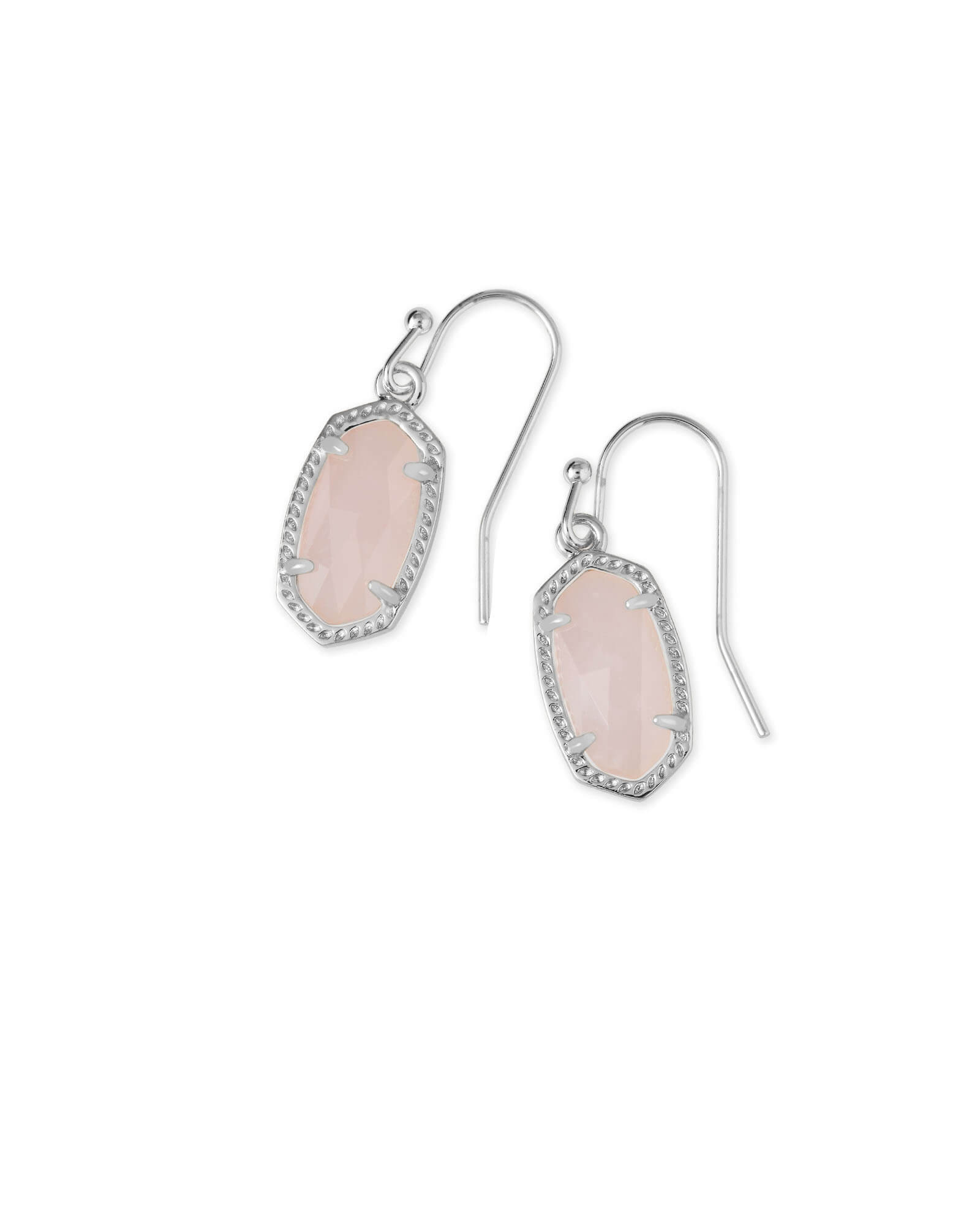 Lee Silver Drop Earrings in Rose Quartz