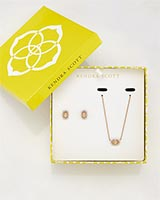 Cade Earrings and Chelsea Necklace Set in Iridescent Peach Cat's Eye