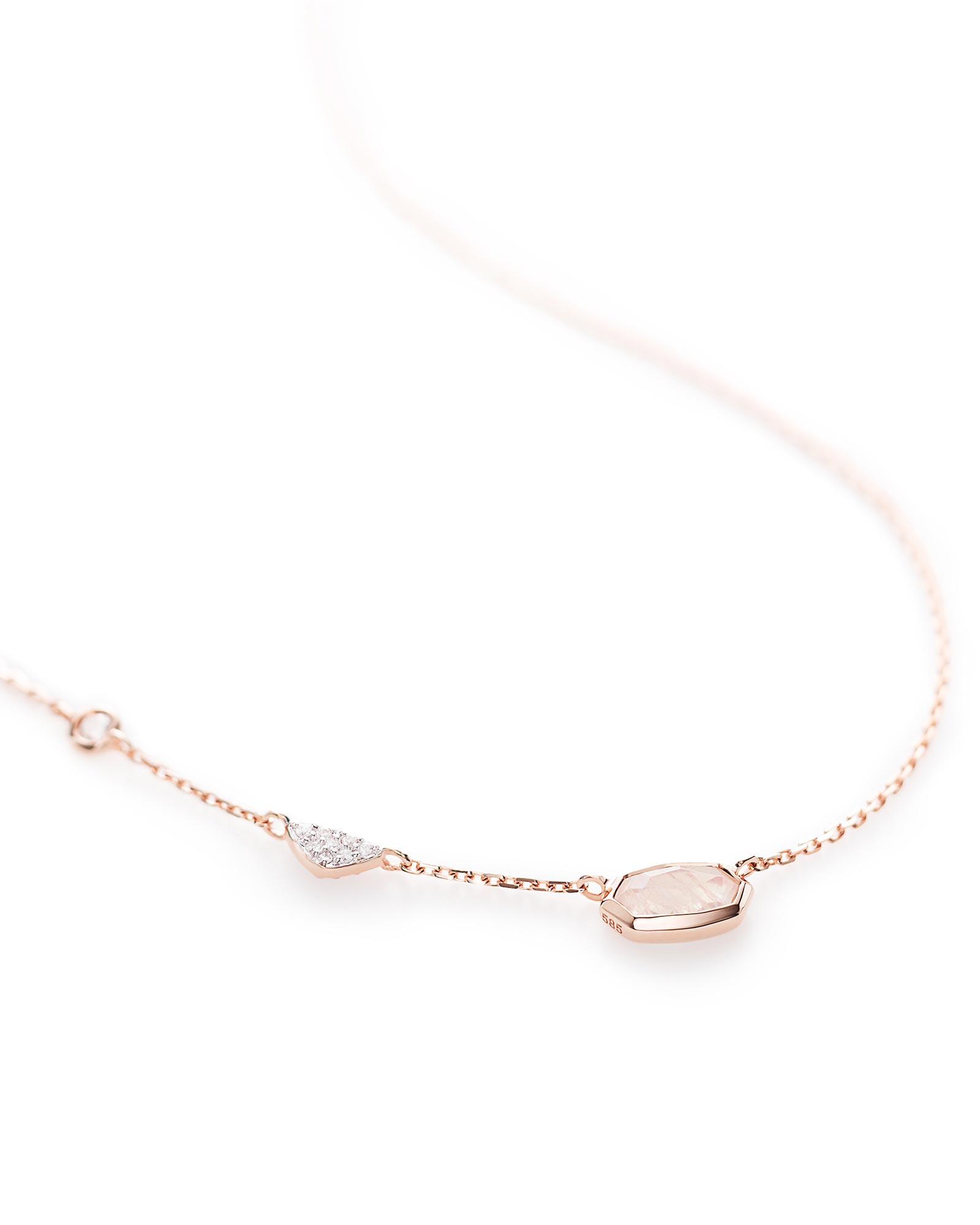 Aryn Pendant Necklace in Rainbow Moonstone and 14k Rose Gold