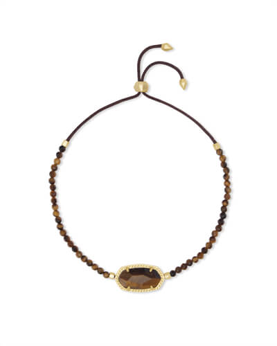 Elaina Gold Beaded Chain Bracelet in Brown Tigers Eye