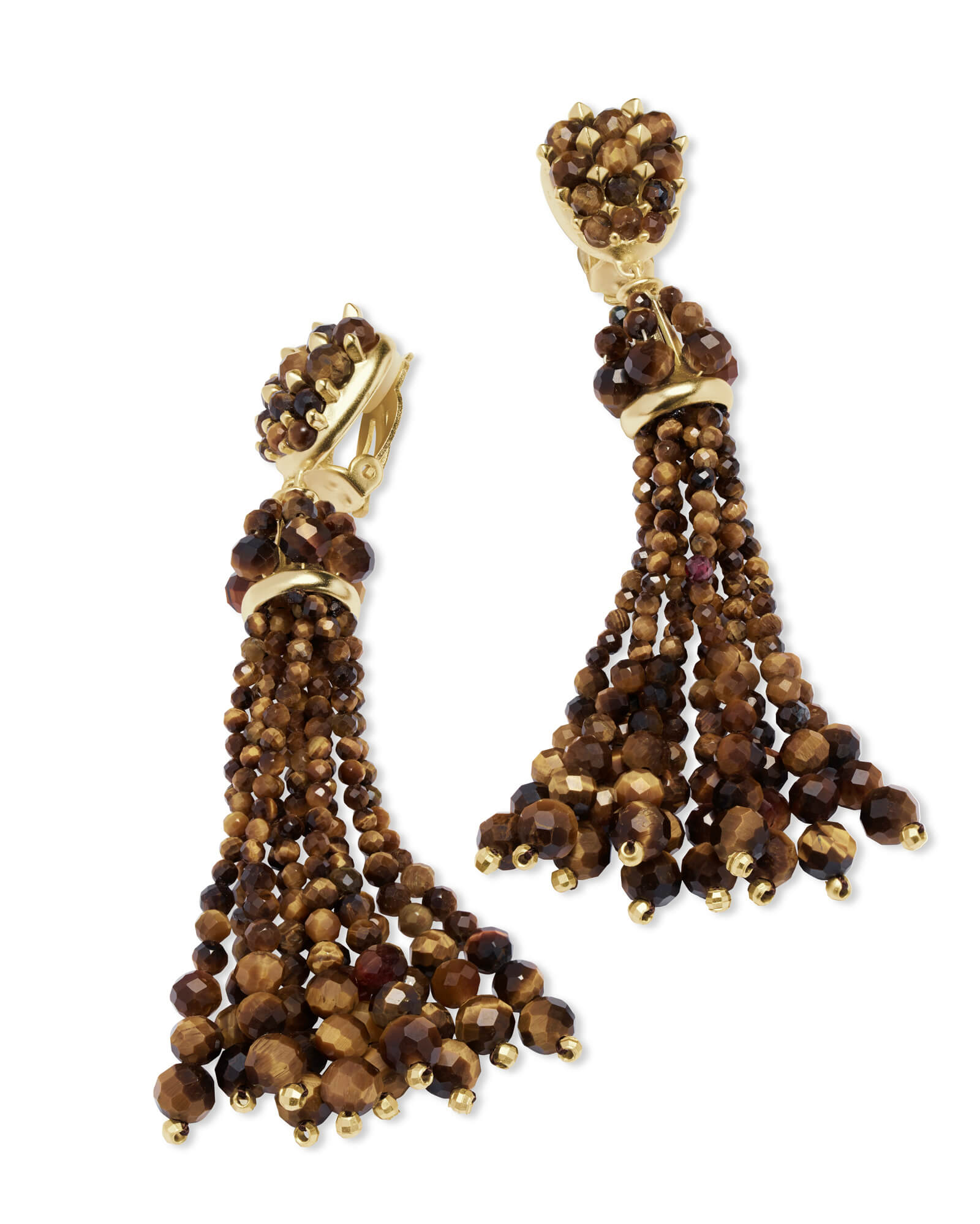 Cecily Gold Clip On Statement Earrings in Brown Tigers Eye