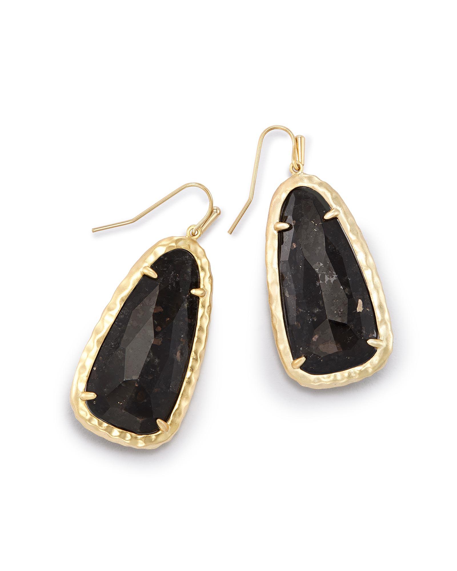 Lyn Drop Earrings In Black Granite