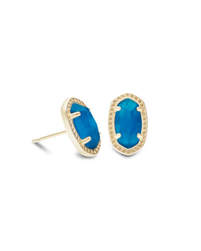 Emery Gold Stud Earrings in Teal Agate