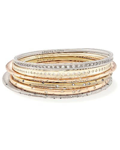 Tori Bangle Bracelet Set in Mixed Metals