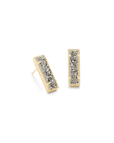 Lady Gold Stud Earrings in Platinum Drusy