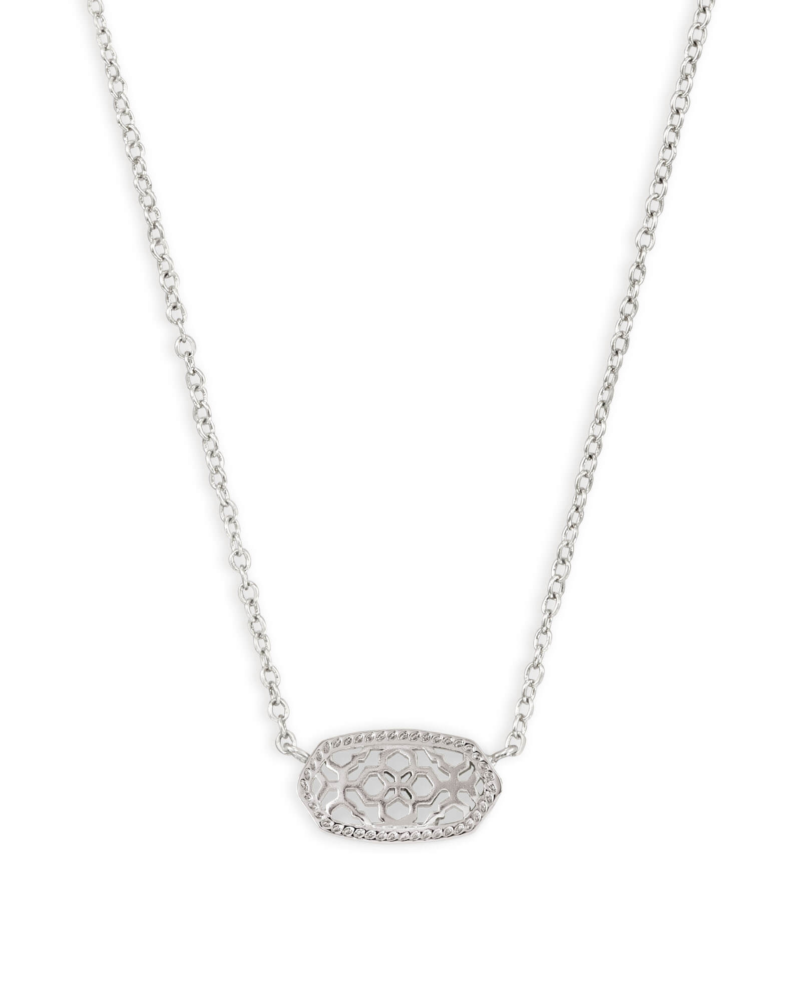 Elisa Silver Pendant Necklace in Silver Filigree