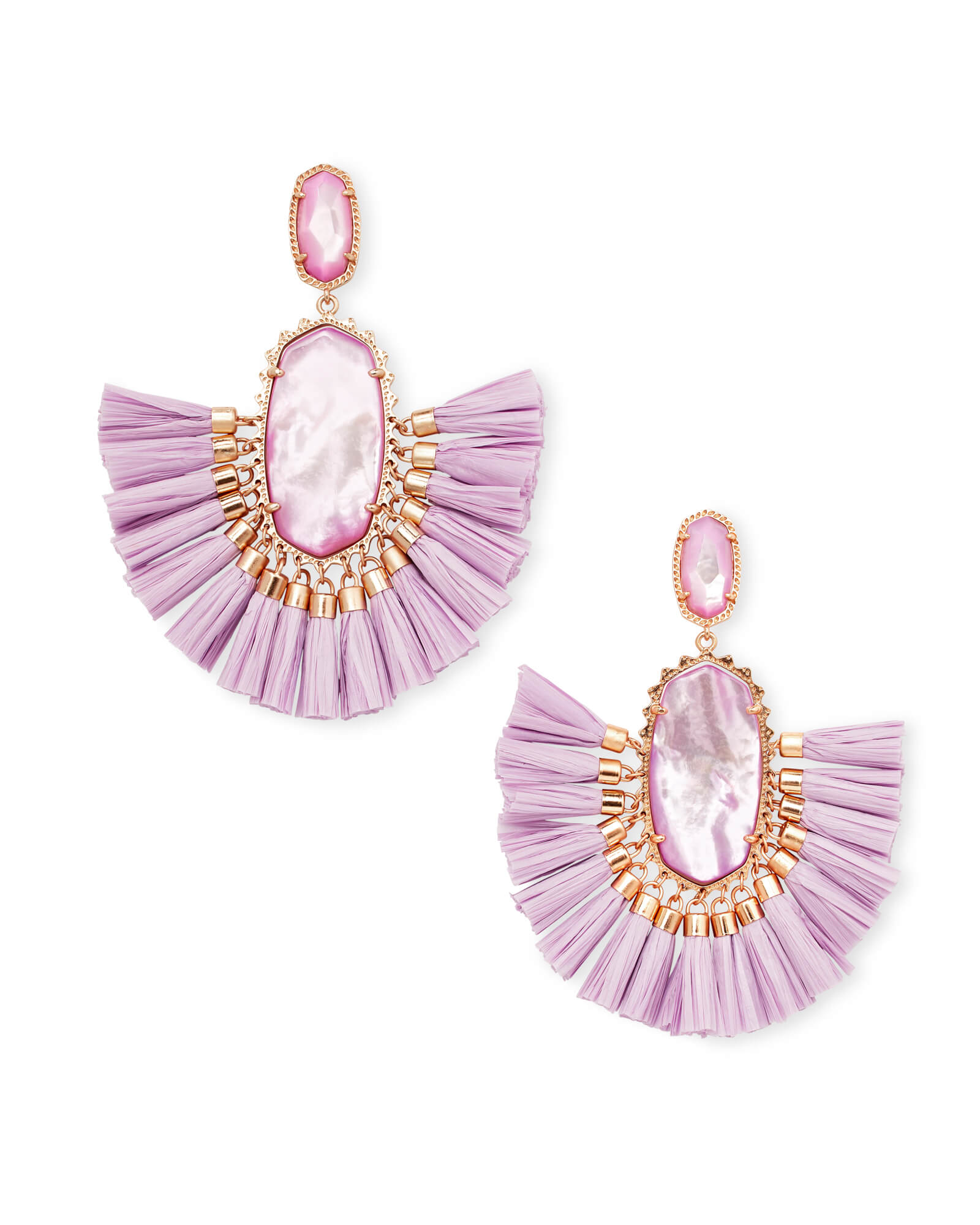 Cristina Rose Gold Statement Earrings In Lilac Mother Of Pearl