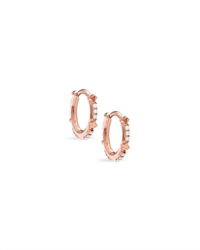 Jett 14k Rose Gold Earrings in White Diamond