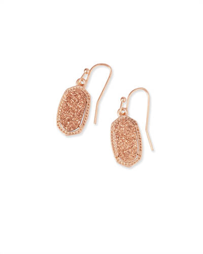 Lee Rose Gold Drop Earrings in Rose Gold Drusy