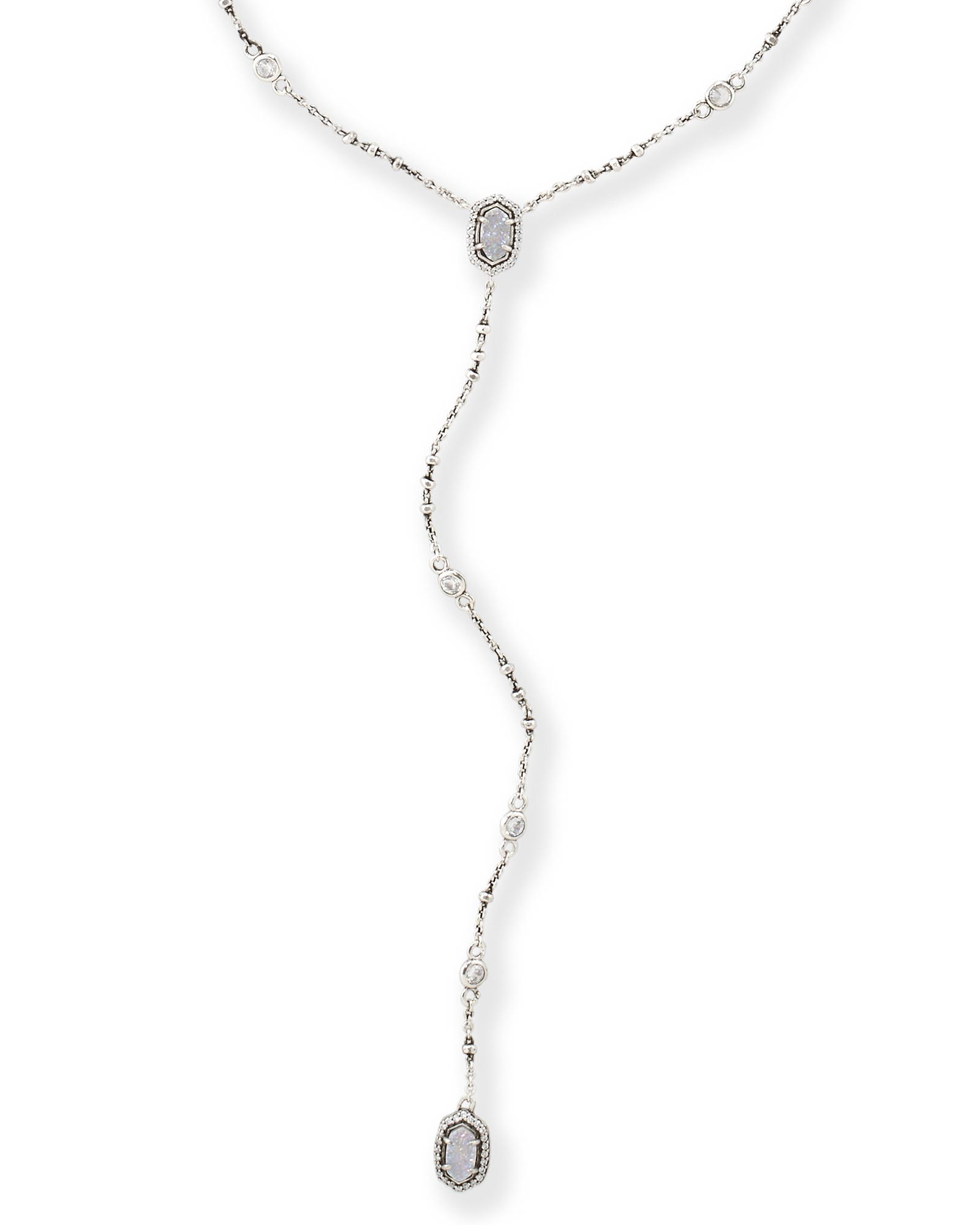 Claudia Lariat Necklace in Antique Silver