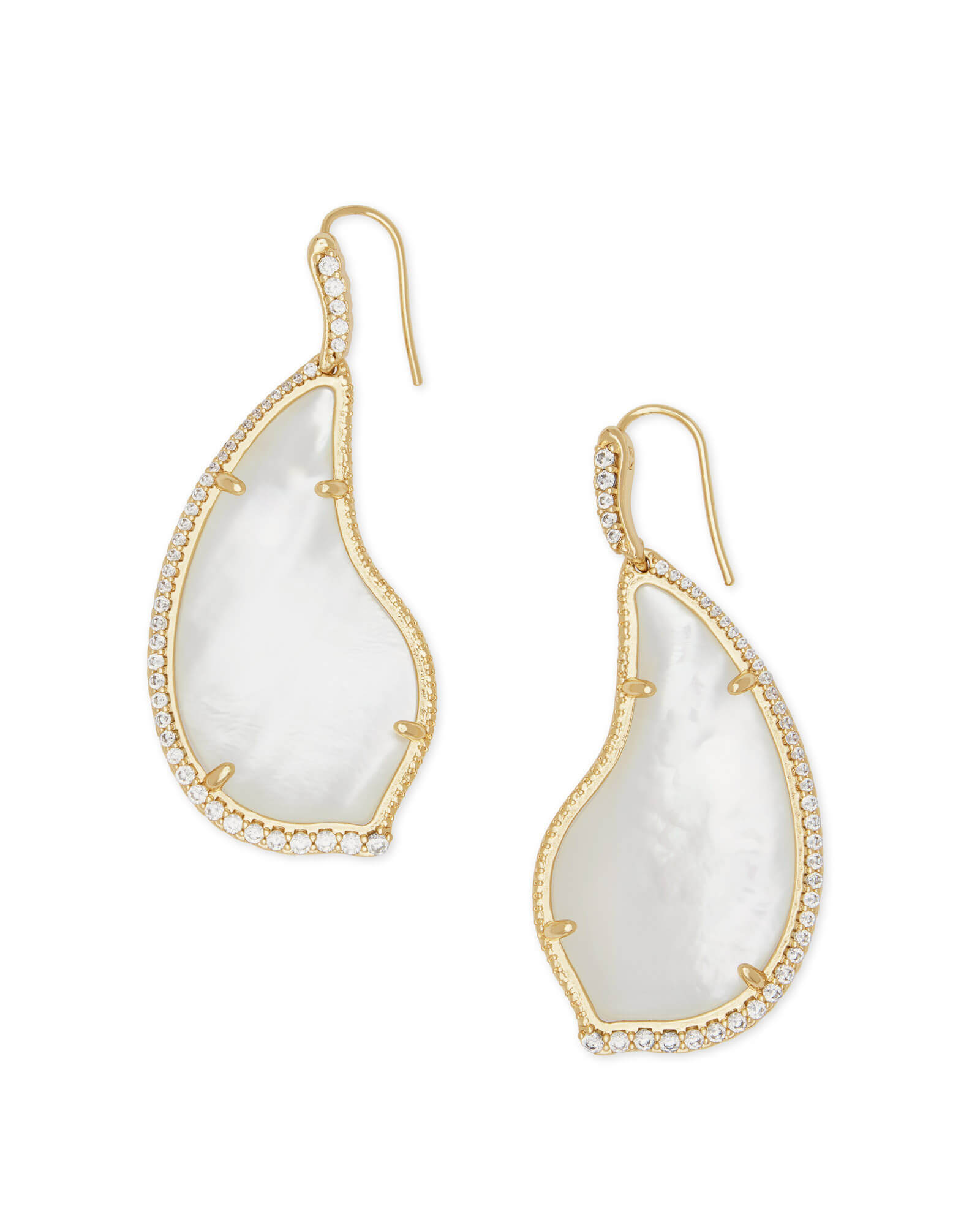 Tinley Gold Drop Earrings in Ivory Pearl
