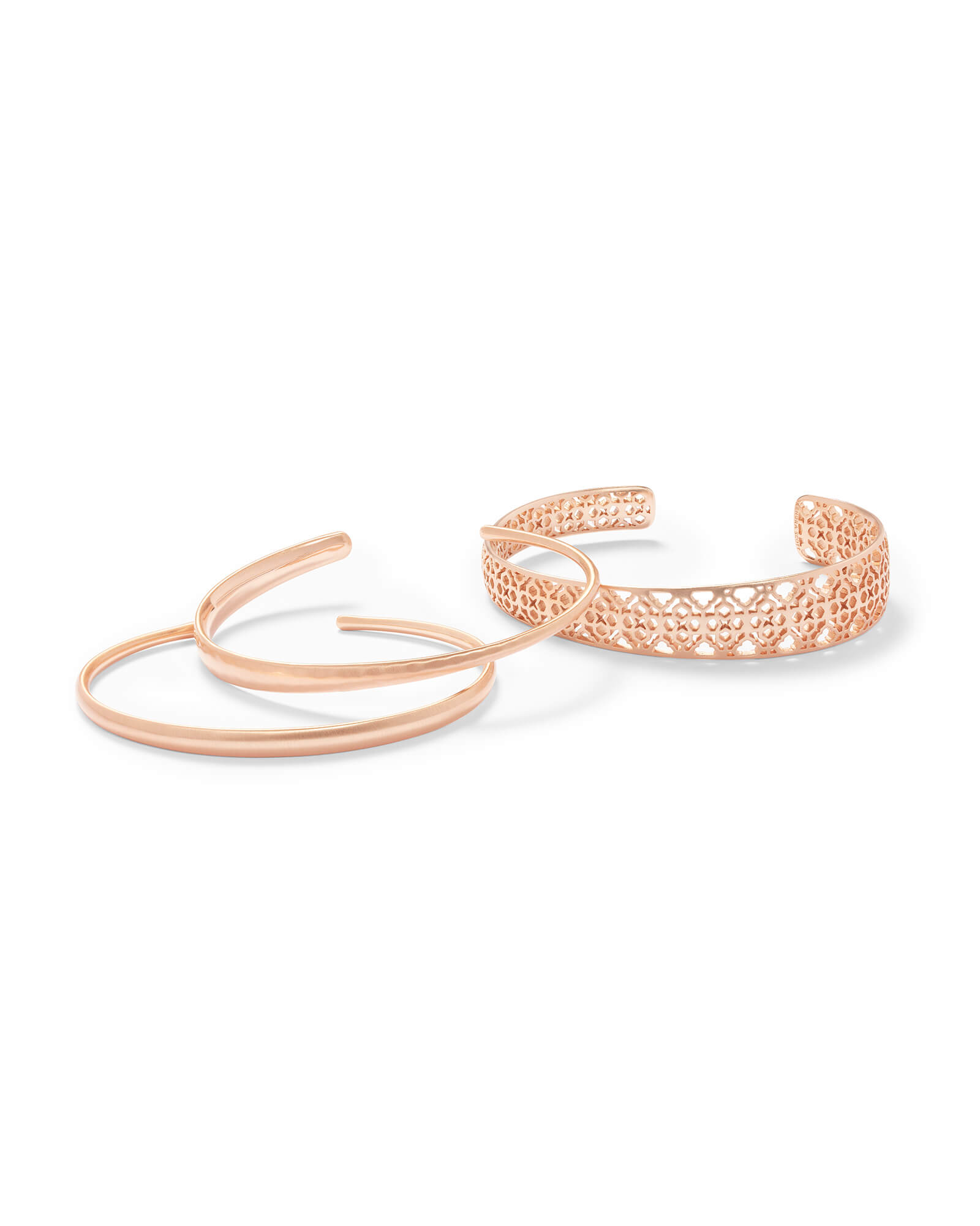 Tiana Rose Gold Pinch Bracelet Set in Rose Gold Filigree
