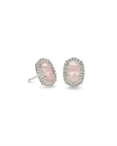 Cade Silver Stud Earrings in Rose Quartz