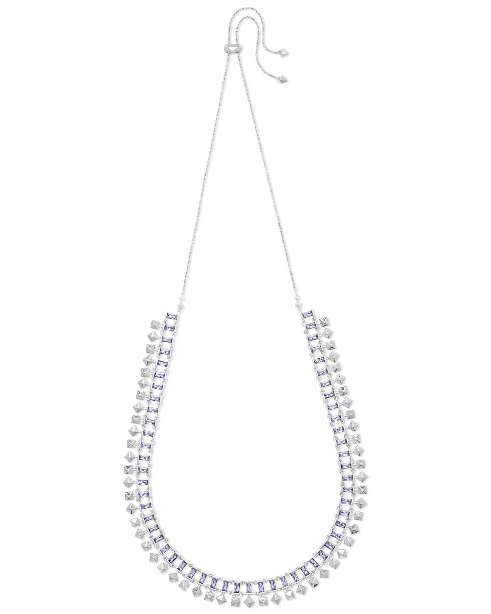 Oscar Silver Choker Necklace in Lilac Crystal