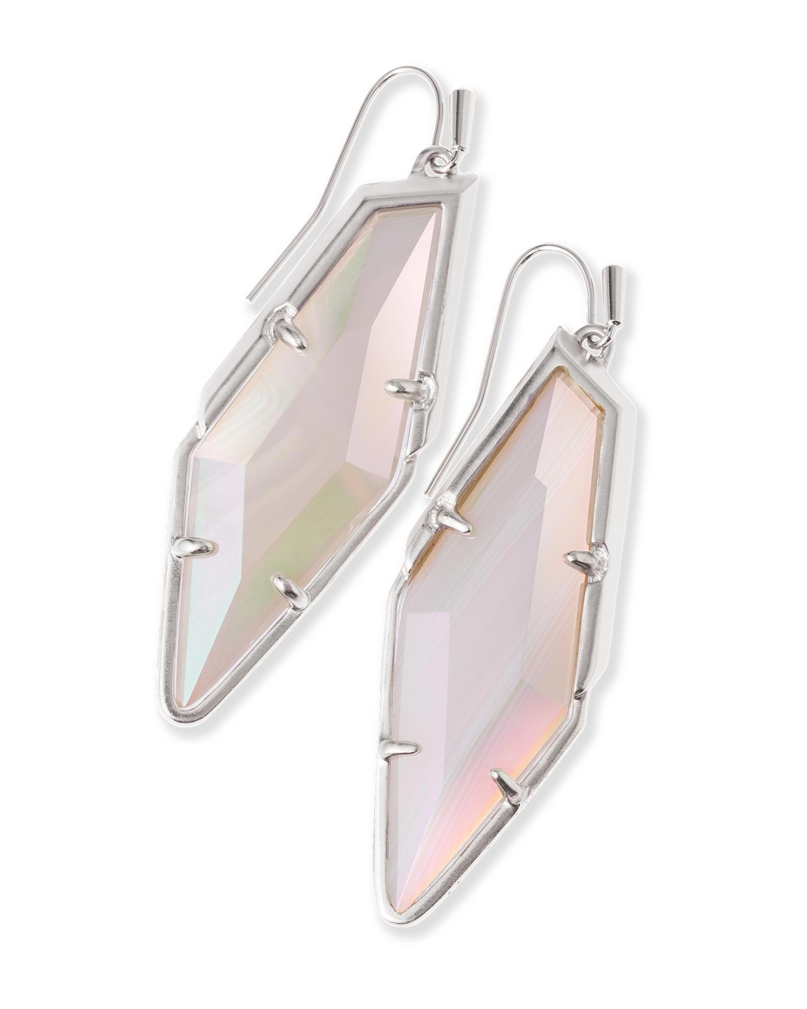 Bexley Drop Earrings in Iridescent White Banded Agate