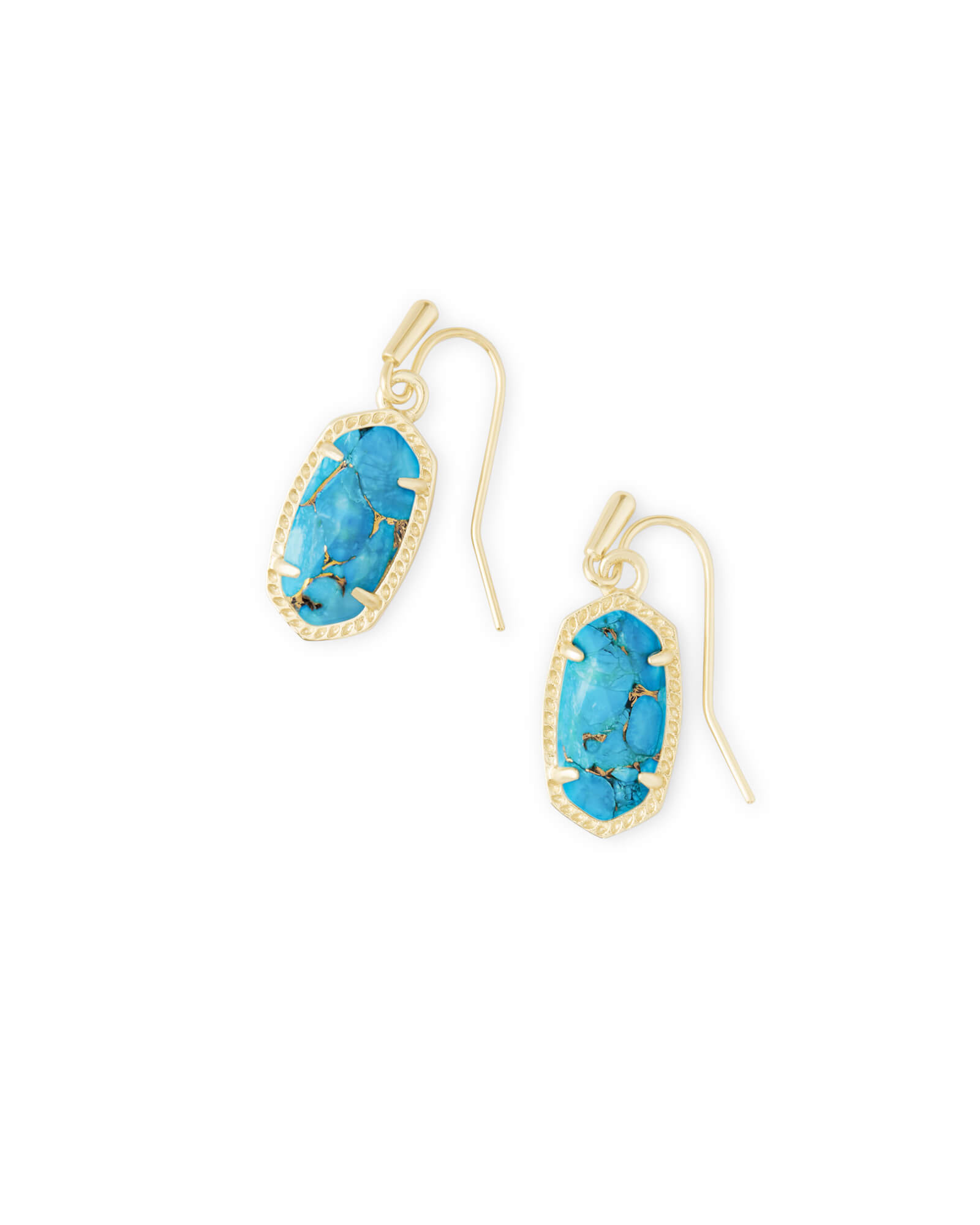 Lee Gold Drop Earrings in Bronze Veined Turquoise Magnesite