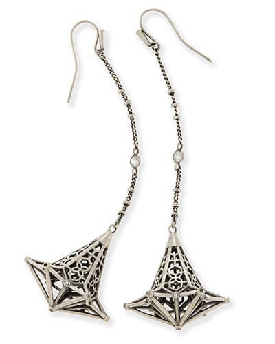 Diana Shoulder Duster Earrings in Antique Silver