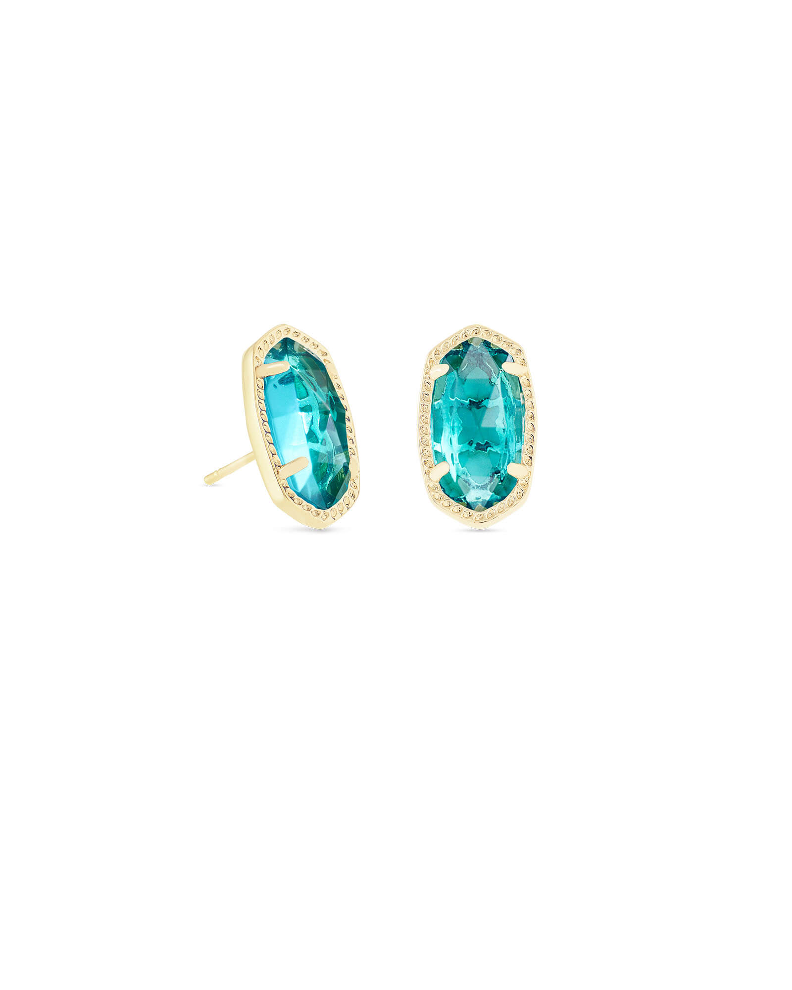 Ellie Gold Stud Earrings in London Blue