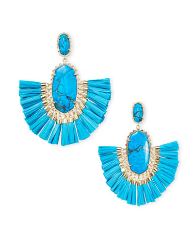 Cristina Gold Statement Earrings In Aqua Howlite