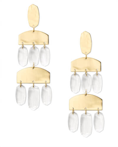 Emmet Gold Statement Earrings in Clear Glass