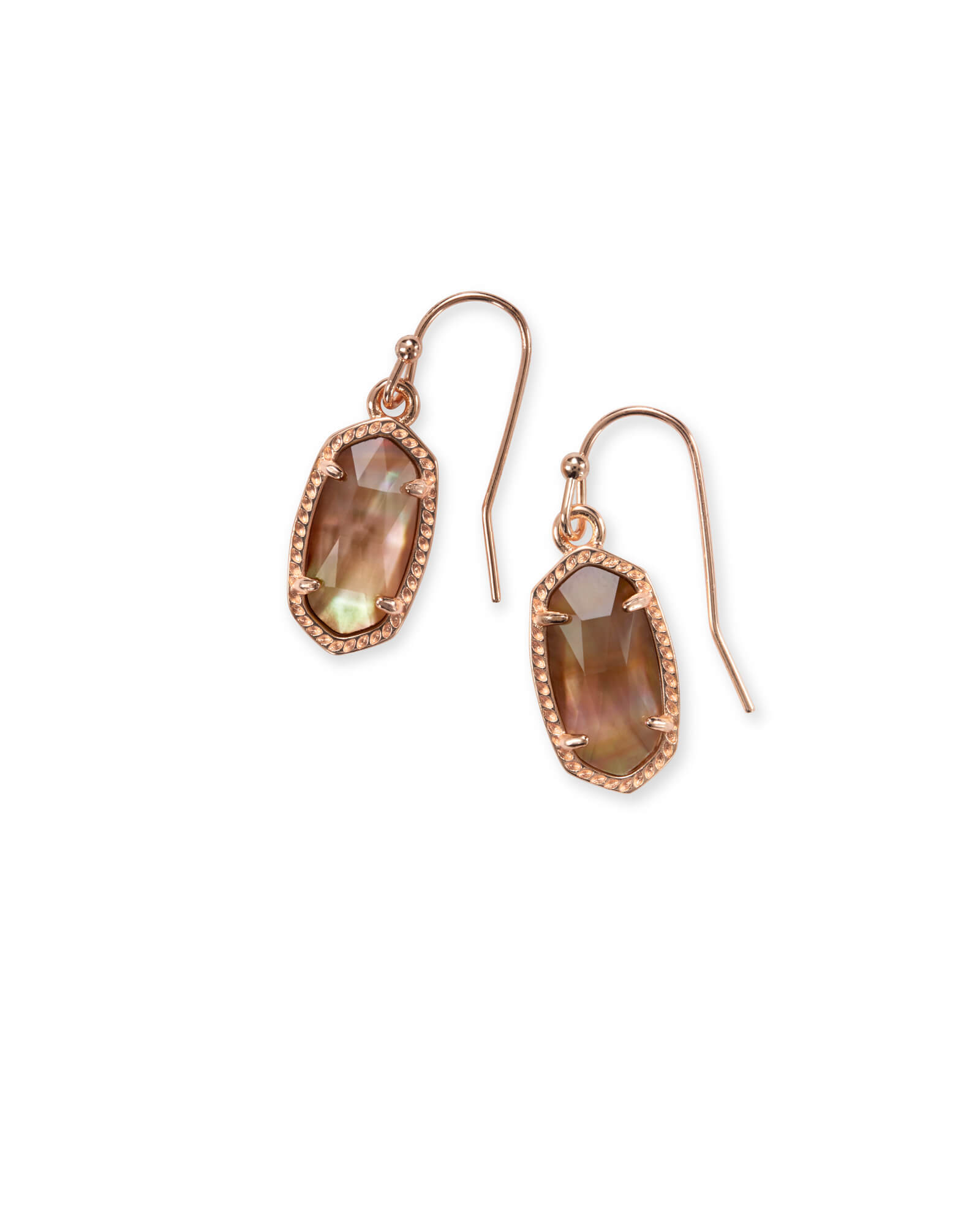 Lee Rose Gold Drop Earrings in Brown Mother of Pearl
