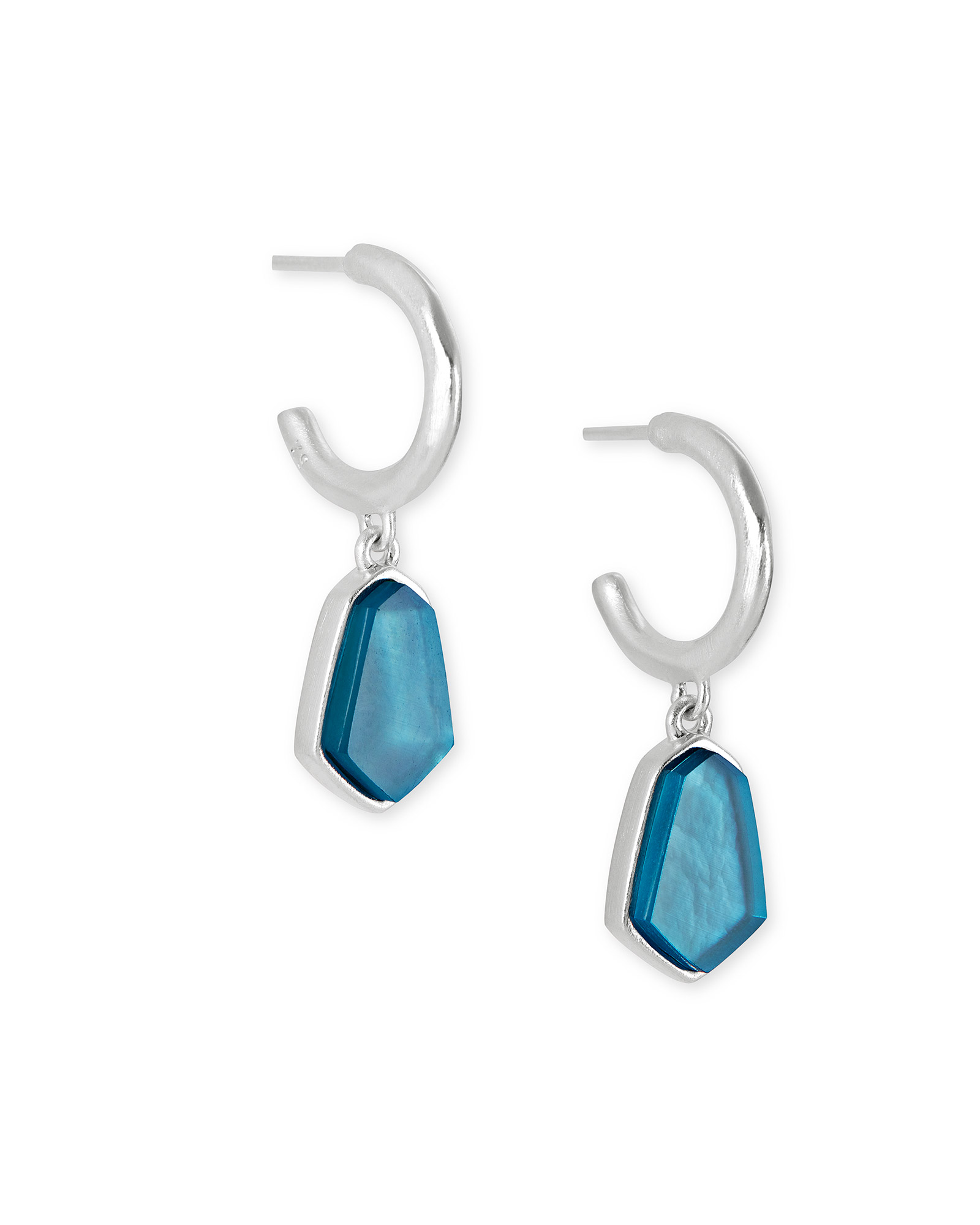 Clove Silver Huggie Earrings in Peacock Blue Illusion