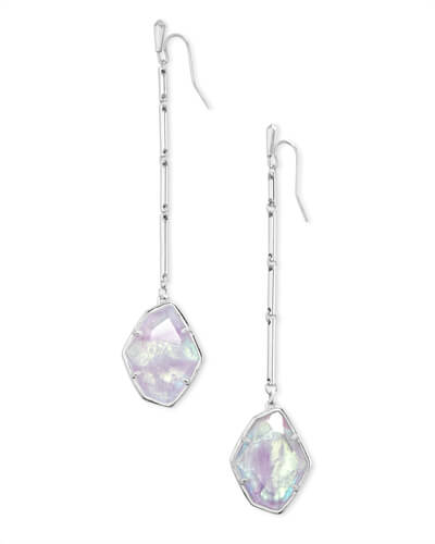 Charmian Silver Drop Earrings in Amethyst Dichroic Glass