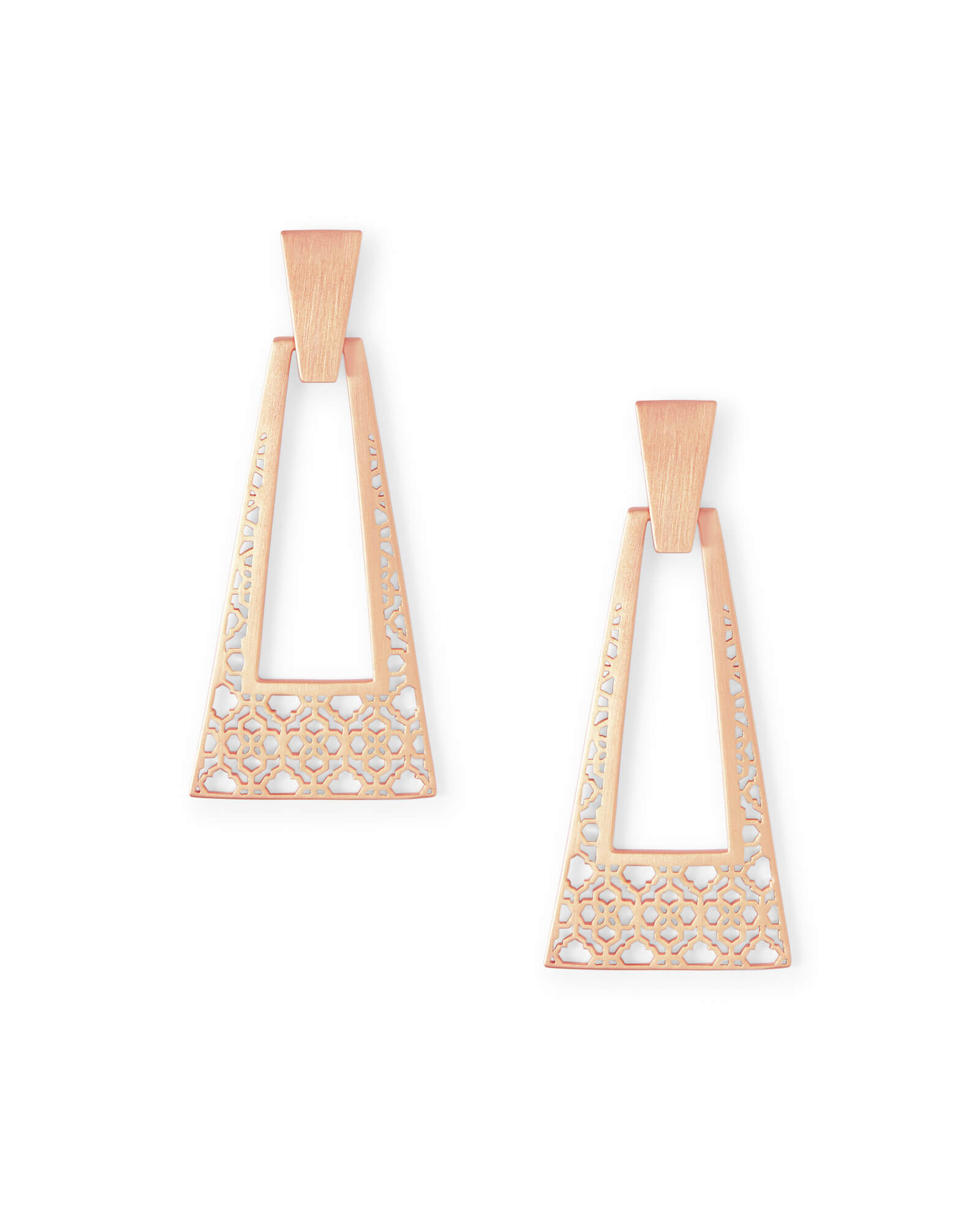 Kase Rose Gold Statement Earrings in Rose Gold Filigree